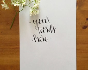 Custom A4 personalised hand lettered print