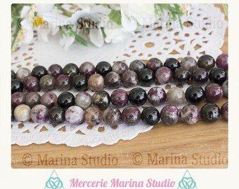 Pearl tourmaline 8mm or 6 mm * non tinted and unheated * for reiki, Chakra healing