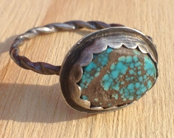 Sterling Silver Ring with Oval Turquoise Cabochon