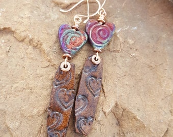 Heart Earrings - Valentines Day -Raku - Tooled Leather - Copper - Cowgirl Jewelry - Boho - Leather Earrings by Heart of a Cowgirl