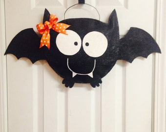 Cute Halloween Bat Stuffed Burlap Door Hanger Hand Painted