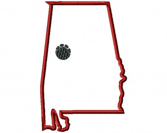 State of Alabama elephant paw print Tuscaloosa applique embroidery design download 5x7 hoop size