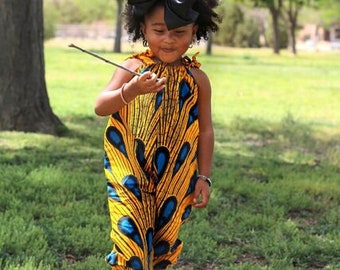 Yellow with Blue Jumpsuit, Girls Jumpsuit, Pantsuit, African Baby Clothes, Toddle Romper, Jumpsuit, Rompers, Summer Romper