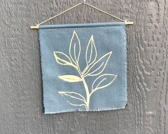 Botanical screen print/ modern banner/ fabric wall hanging