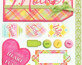 Mother Mom Titles Tags Borders Bo Bunny  Cardstock Scrapbook Stickers Embellishments Card Making