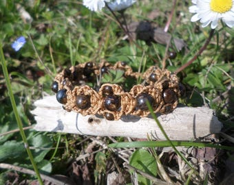 "Bracelet ""anti-stress"" bronzite beads and macrame"