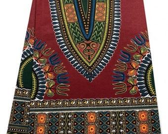African Dashiki Print Whole 6 Yards/Java Print/African Print Fabric/Ankara Print/ African Cloth/100% Cotton/Dark Red & Dark Green