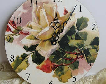 "Wall Clock Yellow Cottage Garden Roses 10"" diameter Baby Nursery Romantic Victorian Shabby Chic Cottage French Farmhouse Style Wall Decor"