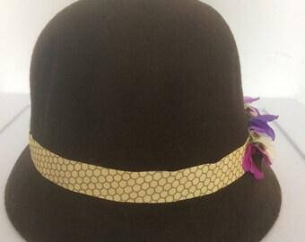 Brown cloche hat with honeybee ribbon