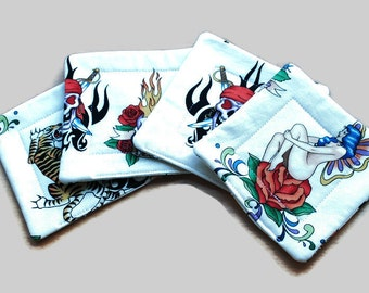 Handmade Quilted  Coasters set of 4 Old School Tattoos
