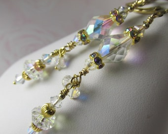 Bridal Earrings in Unusual Vintage Swarovski Crystal AB on 14k Gold Fill Leverback Wires