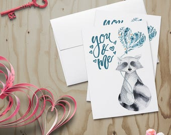 You and Me Raccoon Valentine Card~Woodsy Valentine~Wildlife Valentine~Racoon Valentine~Watercolor Note Card~Hand Painted Note Card~Love Card
