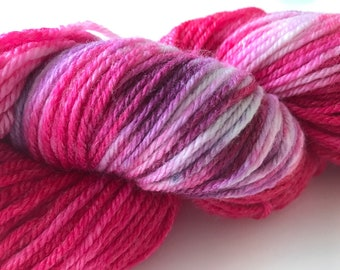Hand dyed super wash Merino and bamboo DK weight yarn 'Pink, purple and white'