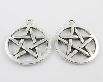 Bulk Pentagram Charm Pendant Wicca Pagan 29x25mm Select Qty