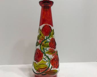 Painted glass rose decanter
