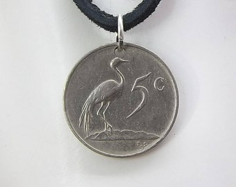 Bird Coin Necklace, South Africa 5 Cents, Coin Pendant, Leather Cord, Mens Necklace, Womens Necklace, 1977