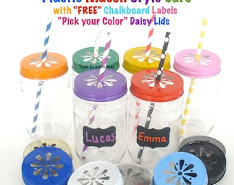 "10 Plastic Mason Jars w/ ""FREE"" Chalkboard Labels and Daisy Lids / Paper Straws Discounted Price"