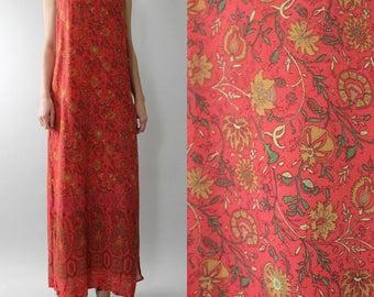 Vtg 90s Rayon THISTLE Print Sleeveless Maxi Gypsy Boho Dress M