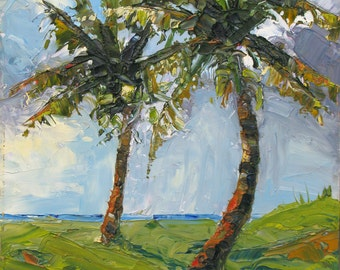 SALE    Palm Trees in the Sun an original 12 x 16 framed oil painting by Yvonne Wagner. Ocean. Tropical. Palms.