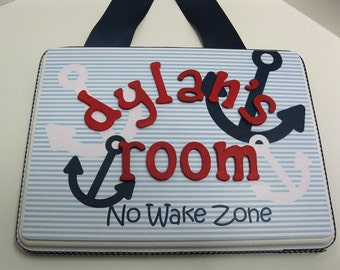 Red, White and Blue No Wake Zone  Nautical Anchor  Room Plaque