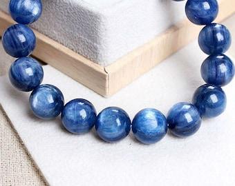 11mm Kyanite Round Bead Stretchy Bracelet 7.5 inches ~ yoga natural bracelet, healing bracelet,wrist mala bracelet, beaded bracelet