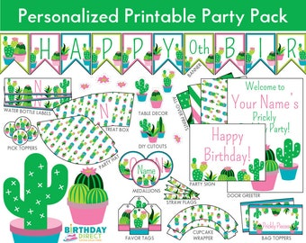 Cactus Party Personalized Decoration Kit/ Cactus Birthday Printables/ Succulents/ Downloadable DIY Package/ Digital Download/ PDF File