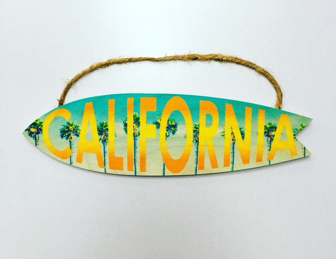 Handmade Wood Surfboard Sign California Art Beach House Decor