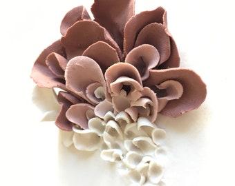 Porcelain Blossom Tile, Ceramic Flower Wall Decor , White  Coral Pink Wall sculpture, OOAK Wedding Gift, Flower Sculptures, Floral Art Tile