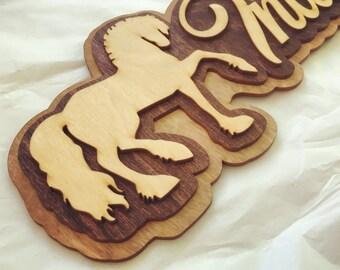Wood Laser Cut Horse Name Sign