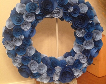 Paper flowers /Navy blue paper flowers/baby blue paper flowers/light  blue paper flowers/blue paper flower wreath