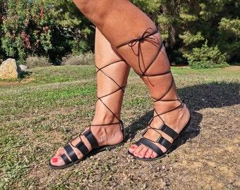 Gladiator Sandals, Flat Greek Sandals, Black Lace up Sandals, Leather Sandals, Handmade Sandals, Women's Sandals, Sandales Grecques.
