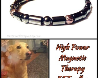 PET Magnetic Collar || SUPER Strong Magnetic Clasp || LARGE || Therapy Hematite & Copper || Custom Sized Pet Jewelry || Wellness Health