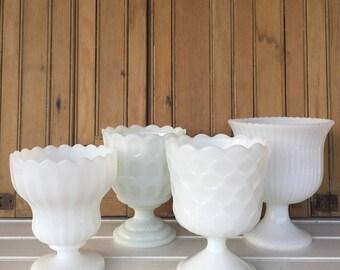 4 Vintage Milk Glass Compotes, Planters, Vases, Instant Collection, White, Centerpiece, Wedding Decor, Cottage Style