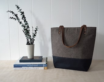 Large Tote Bag in Espresso Linen with Waxed Canvas bottom - School Bag, Every Day Bag, Laptop Tote