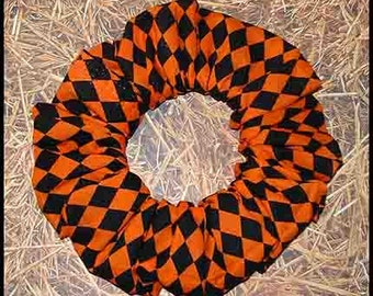 Autumn/Fall Hair Scrunchie, Holiday Hair Tie, Autumn/Halloween/Thanksgiving Ponytail Holder , Harlequin Diamonds