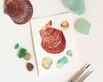 "Beach finds original ACEO painting: sea glass & shell watercolor original miniature painting 2.5""x3.5""; artist trading card - affordable art"
