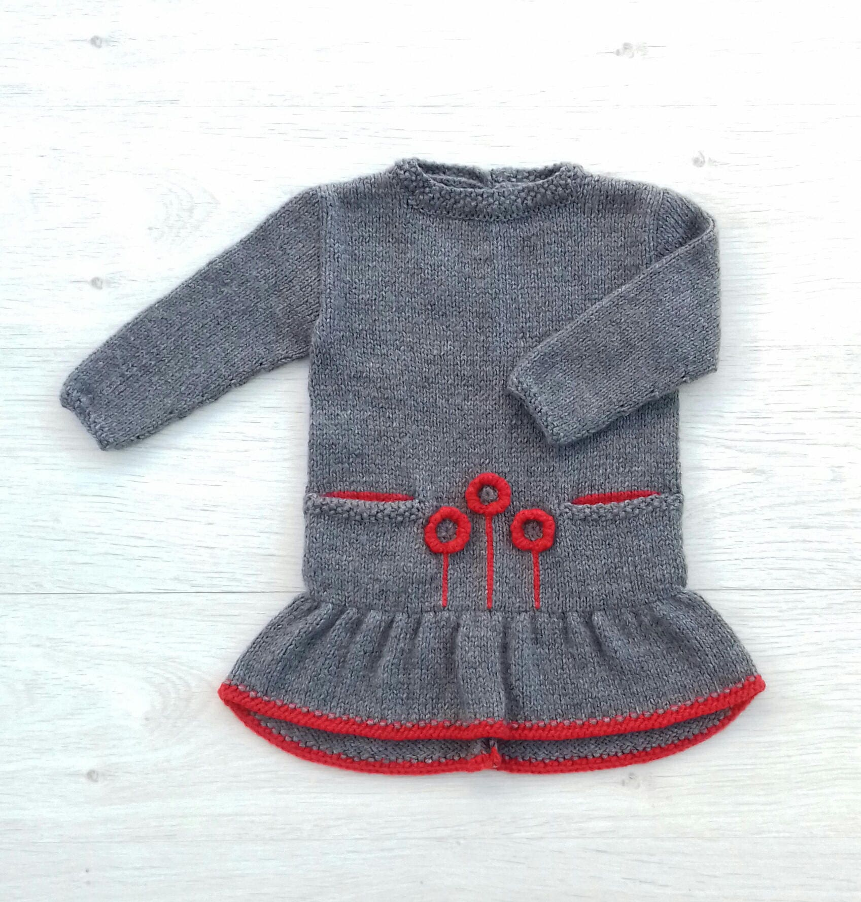 Knit dress for toddler Grey baby girl dress Orange flower