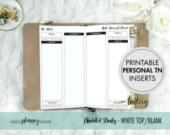 Printable Personal Size Undated Daily Blank Column Travelers Notebook | Daily Planner Insert | No4/Personal TN Inserts