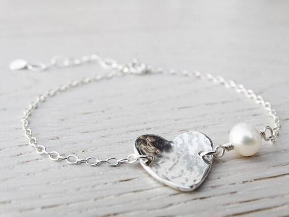 Silver Heart Bracelet & Pearl, Sterling Silver