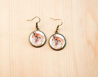 Fox earrings animal woodland cute gift watercolor red christmas birthday present