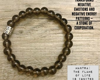Yoga Bracelets ॐ COOPERATION: Smoky Quartz | Healing Karma Love Stacks | Luxury Organic Jewelry | Men's Women's | Tibetan Buddhist