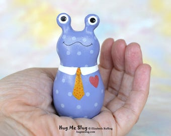 Handmade Slug Figurine, Miniature Sculpture, Blue Polka Dotted and Gold, Hug Me Slug, Animal Totem Charm Figure, Personalized Tag