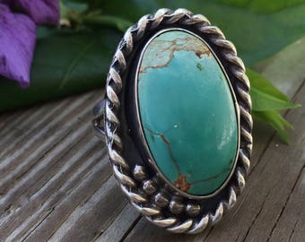 Vintage Light Green Turquoise Sterling Silver Ring   Vintage Rings   Vintage Jewelry   Large Rings   Statement Rings  
