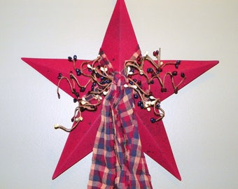Americana Navy Blue, Burgundy and Cream 12 Inch Metal Star with Pip Berries