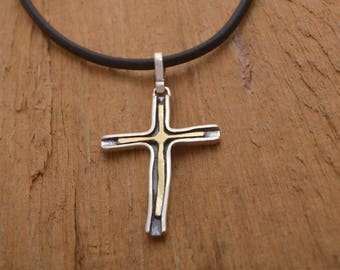 Rustic Cross Necklace for Women & Men, Sterling Silver and 14 KT Gold Cross on Cord or Chain, Baptism, Meaningful Gift for her, him ST693