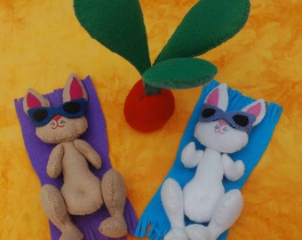 Easter Felt Doll Pattern - Beach Bunnies -Easter decoration, ornament, rabbit doll, Easter gift