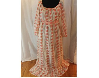 Pink Off white Maxi Prairie Dress Women's Large L Boho Hippie Peasant style long sleeve lined lightweight linen cotton tall Costume