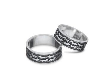 Fox ring Fox jewelry Foxes ring Animal jewelry Gift Enamel ring Orange ring