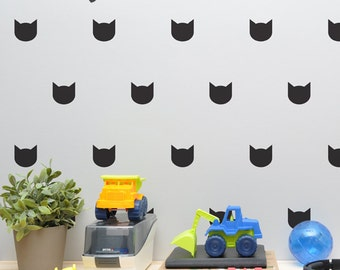 Cat Wall Decal   Wallpaper / Wall Stencil Effect Kitty Nursery Wall Decal , Cat  Decals