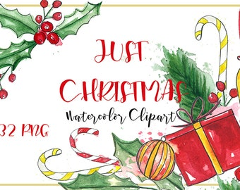 Just Christmas. Watercolor clipart hand drawn. Christmas clip art. Holly gift